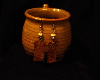Hammered Textured copper earrings with bone beads