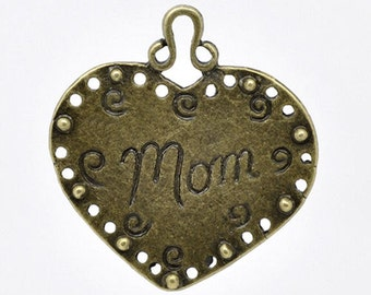 2 Mom Charms Antique Bronze Tone Large Size in Heart - BC451