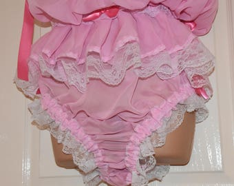 Petticoated panties sissy delight (SD) panty dress, soft sheer baby pink nylon chiffon, panties for men, risque Sissy Lingerie pantydress