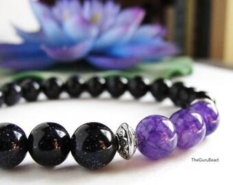 Amethyst Bracelet, Goldstone Bracelet, Yoga Mala Bracelet, Yoga Bracelet, Yoga Mala, Buddha Bracelet, Yoga Beads, Prayer Beads, Womens Beads