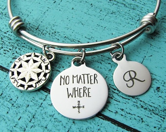 moving away gift best friend, no matter where bracelet, long distance relationship, miss you gift, friendship gift, going away gift travel