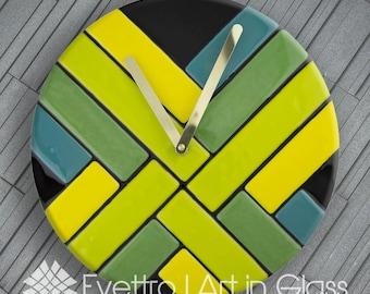 "Contemporary Fused Glass, ""Lemongrass Thick Woven Clock""."