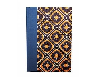 A6 Address Book, blue orange batik pattern, small telephone book, unisex gift idea