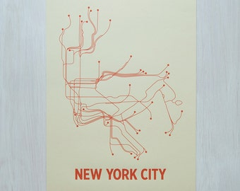NYC Screen Print - Cement/Orange