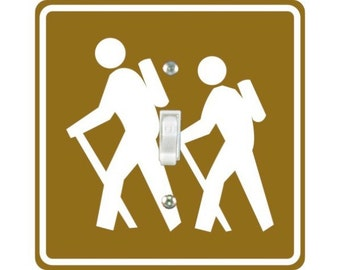 Hiking Road Sign Square Single Toggle Light Switch Plate Cover