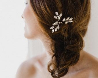 Crystal Hair Pins | Bridal Hair Pins | Silver Hair Pins | Wedding Hair Pins | Leaf Hair Comb | Crystal Leaf Hair Pins | Nora Hair Pin