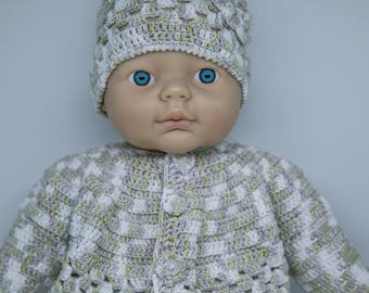 Very Beautiful Soft Grey Green & White Baby Girl Hand Knitted Warm Woolen SET - includes Beanie and Cardigan