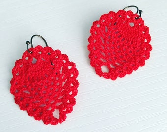 Sheridan Crochet Earrings in Red, Lace Doily Earrings, Bridesmaid Gift, Crochet Pineapples, Hippie Fashion, Boho Style, Teen Gift, Bright