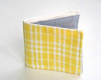 Vegan Wallet, Slim Cotton Wallet in Yellow Seersucker for spring and summer, Bifold wallet, Preppy wallet, for men and women, boyfriend gift