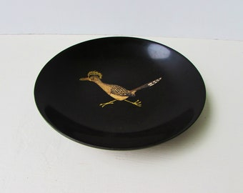 Vintage Mid Century Modern Couroc of Monterey Roadrunner Bowl  - Black Resin Bowl With Inlaid Metal, Stone and Wood - Roadrunner Design