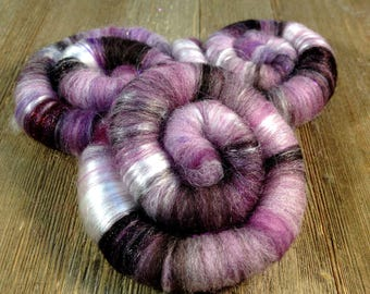 Frosted Berries Rolags, Blended Spinning Fiber, Merino, Tencel, Angelina, Firestar BFL Fibers