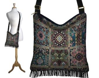 Boho Tapestry Bag, Bohemian Gypsy Fringe Purse, Cross Body Hobo Bag, Crossbody Bag, Kilim Tapestry Fabric Purses , blue green red black MTO