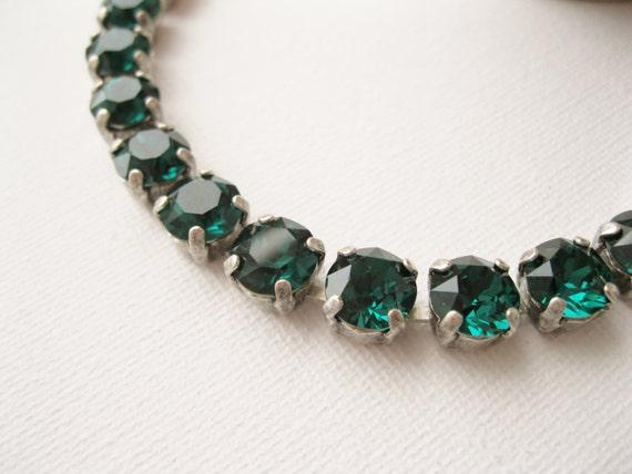Green Rhinestone Bracelet Swarovski Elements Emerald Wedding Jewelry May Birth Month Christmas Jewellery Tennis Bracelet Adjustable