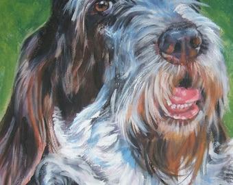 Spinone Italiano dog portrait CANVAS print of LA Shepard painting 8x10 dog art