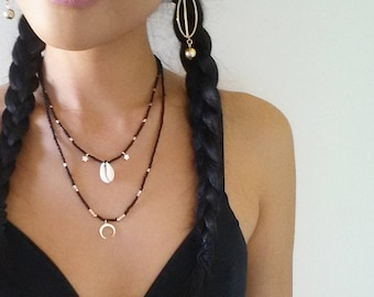 Cowri Shell Necklace/ Crescent Moon Necklace / Moon Necklace / Layered Beaded Necklace / Rose Gold Necklace / Beachy Necklace / Rose Gold /