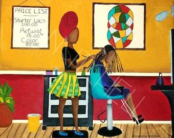 Twisted Suite Canvas Print/Black Art/Erykah Badu/ Acrylic Painting/Digital Print/Prints/Canvas Art/Queen/Natural Hair/Locs