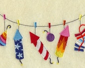 Firewks Clothesline Embroidered  Towel        l      Textile Gift | Dish Towel | Kitchen Towel | Hand Towel | Embroidery