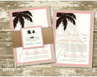 Glitter Destination Wedding Invitation/ tropical invitation / Palm Tree Invitation / glitter Belly Band with custom monogram!