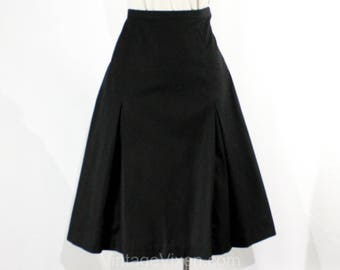 Size 8 Black Skirt - 1950s Cotton Tailored A-Line Skirt - Saddle Stitching - Secretary Chic - 50s Eiffel Tower Label - Waist 28 - 38864