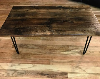 "39"" Distressed Wood Coffee Table with HairPin Legs"