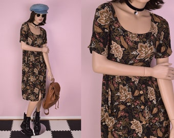 90s Floral Print Dress/ Medium/ 1990s/ Short Sleeve