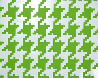 Retro Wallpaper by the Yard 70s Vintage Wallpaper - 1970s Vinyl Lime Green and White Houndstooth Geometric