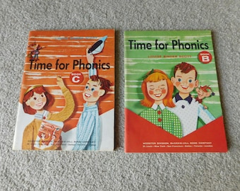 Vintage Elementary School Workbooks Lot of 2 Time For Phonics Books B and C 1962