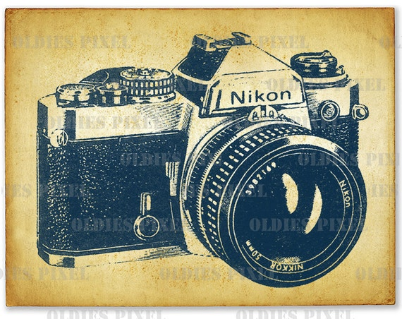 Vintage Nikon Camera Line Art Illustration Hand Drawing Digi
