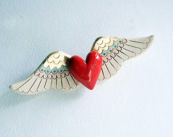 Winged Heart sculpture, ceramic wall art, red ceramic heart