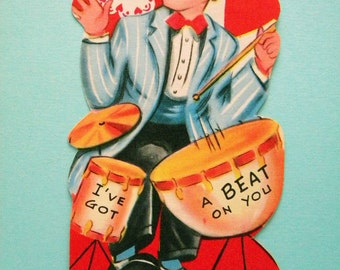 Vintage Valentine's Day Card Boy Playing Drum Kit