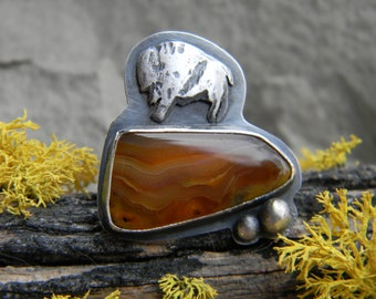 Home on the Range - Montana Agate Ring with rustic silver buffalo - oxidized silver- size 7