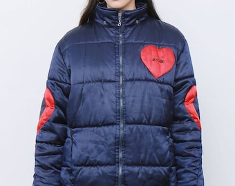Rare Vintage 90's Navy and Red Moschino Satin Heart Bomber Puffer Winter Jacket Coat