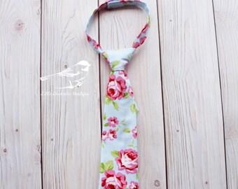 Boys tie Boys floral tie Baby boy tie Toddler tie Kids tie Blue floral tie Spring tie Boys floral wedding tie Pink floral tie