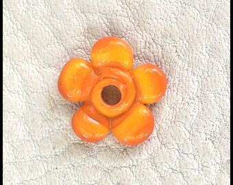 Orange Handmade Lampwork Violet Flower by MMB SRA #U5