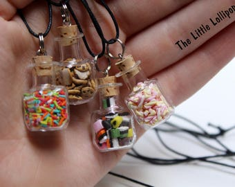 Miniature Candy Jars Necklace - Fimo Food Jewelry
