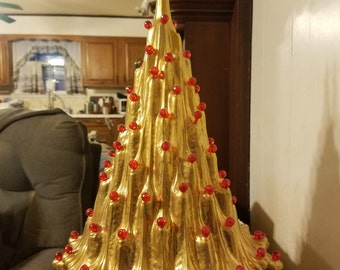 "Real Gold, 21"",  Ceramic Christmas tree, Table top tree, Christmas decoration, choice bulbs, finished glazed with real gold"