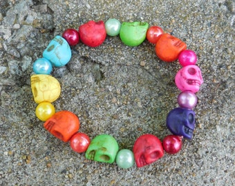 Colorful Skull and Bead Bracelet