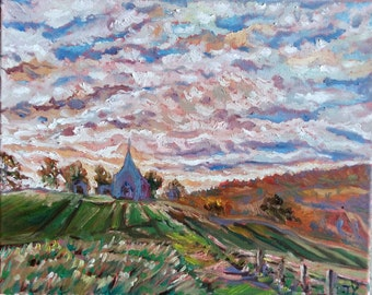 "Original Oil Painting, Landscape- Countryside Church, 16""x20"", 1610144"