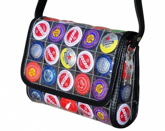 Crossbody made from bottle caps, FREE SHIPPING, Upcycled bag purse hipster shoulder sling recycled colorful vegan vegans fun coke coca cola
