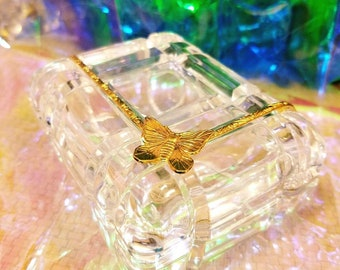 Crystal and gold  jewelry trinket box