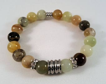 Gemstone bracelet from new jade, fluted stainless steel beads and Strassrondelle