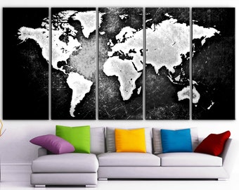 Large 30x 60 3 panels art canvas print world map xlarge 30x 70 5 panels art canvas print beautiful world map black gumiabroncs Choice Image