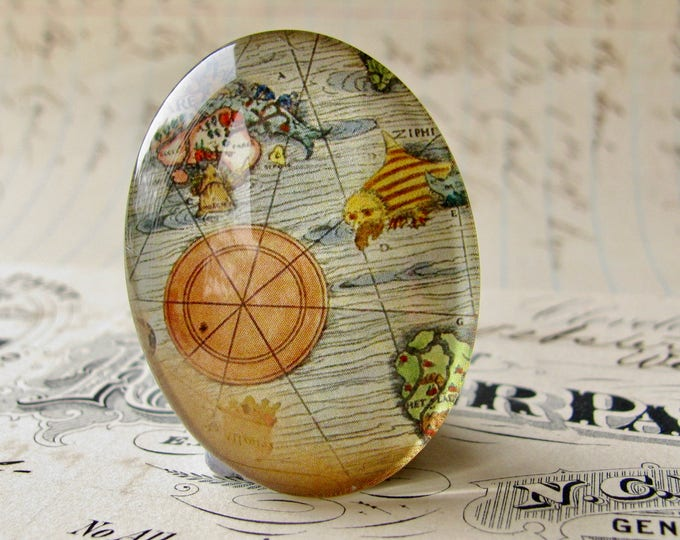 Historical Maps collection, antique map compass rose, vintage map, travel, navigation, handmade oval glass cabochon, 40x30mm or 25x18mm