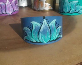 Hand Painted Blue and Turquoise Lotus Flower Metal Bracelet Cuff