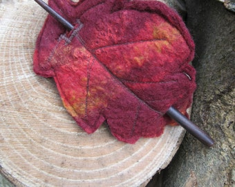 Hair barrette ~ Felt oak leaf ~ Hair accessory ~ Fairy ~ Woodland ~ Elf ~ Pixie ~ Tribal ~ Festival ~ Hair clip