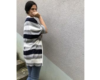 Stripe Kimono Cardigan / Blue Kimono / Summer Kimono / Loungewear / Navy Kimono / Kimono Jacket / Grey Kimono / Navy and White Kimono