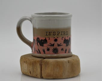 Inspire coffee mug, Mothers day gift, Ceramic mug, large coffee mug, handmade ceramics, Handmade gifts, Office gifts