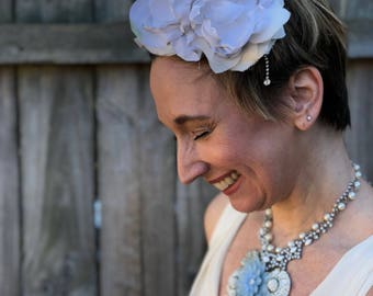 Wedding Statement Necklace, Bridal Necklace, Rhinestone Wedding Necklace, Something Blue Wedding Necklace, Statement Necklace