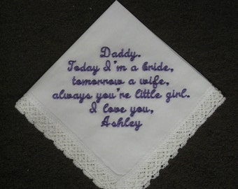 Personalized Handkerchief Wedding Father of Bride from his daughter - Dad from little girl