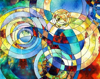 Stained Glass Abstract Mosaic Science Postcard Poster Art Print Q33